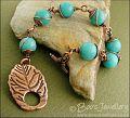 Aqua coloured jade and leaf toggle bracelet