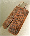 Etched copper leaf tendril rectangular earrings