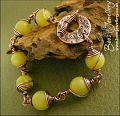 Butter jade and antiqued copper toggle bracelet