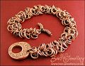 Double shaggy loops antiqued copper toggle bracelet - made to order
