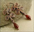 Egyptian coil antiqued copper and Tourmaline earrings - made to order