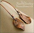 Copper beech leaf earrings with feature earwires