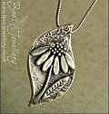 Fine silver daisy pendant and earring set with CZ stones