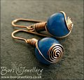 Royal blue Malay Jade and antiqued copper rosebud knot earrings - made to order