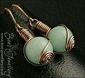 Aquamarine coloured Malay Jade rosebud knot earrings