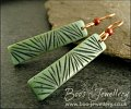 Faux carved jade stick earrings with red jasper beads