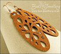 Faux wood large geometric oval charm and copper earrings