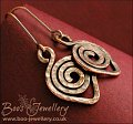 Hammered texture leaf spiral dark copper earrings
