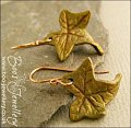 Lightweight contoured ivy leaf and bronze earrings