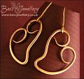 Polished hammered bronze curly heart earrings - made to order