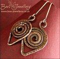 Dark copper hammered texture leaf spiral earrings