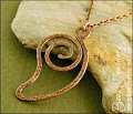 Open leaf spiral shaped hammered texture copper pendant - made to order