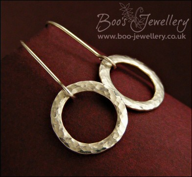 Sterling silver textured hammered small ring earrings