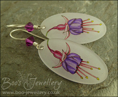Fuchsia sketch Sterling silver earrings with Swarovski crystal