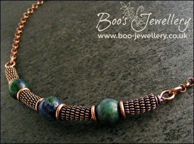 Antiqued copper spiralled rope and Chrysocolla necklace - made to order